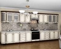 Кухня Платинум Ясень беж патина золотая