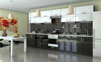 Кухня Гламур Черно-белый глянец